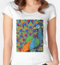 Colorful Paisley Peacock Bird Women's Fitted Scoop T-Shirt