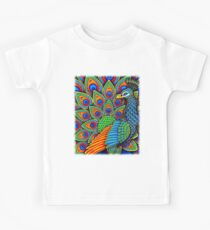 Colorful Paisley Peacock Bird Kids Tee