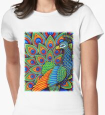 Colorful Paisley Peacock Bird Women's Fitted T-Shirt