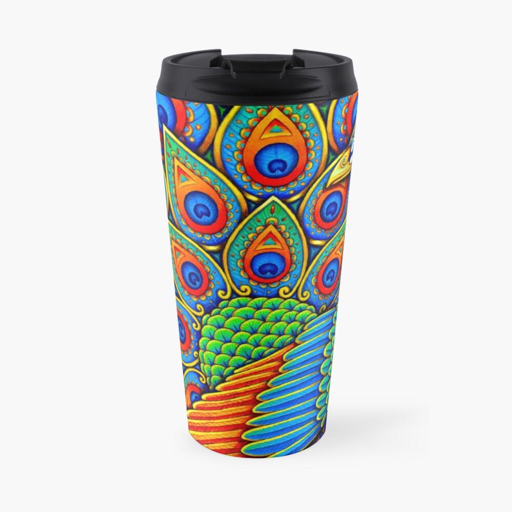 Colorful Paisley Peacock Rainbow Bird Travel Mug