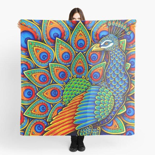 Colorful Paisley Peacock Rainbow Bird Scarf