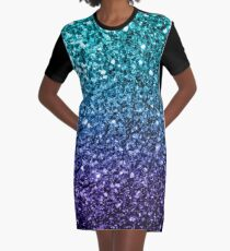 Beautiful Aqua blue Ombre glitter sparkles  Graphic T-Shirt Dress
