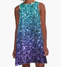 Beautiful Aqua blue Ombre glitter sparkles  A-Line Dress