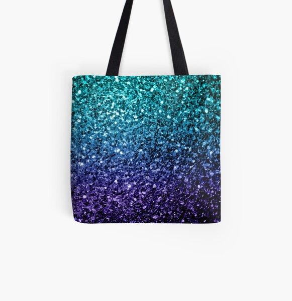 Hermosos destellos de brillo azul Aqua Ombre Bolsa estampada de tela