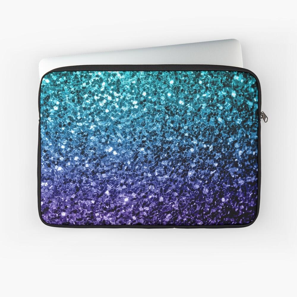Beautiful Aqua blue Ombre glitter sparkles Laptop Sleeve
