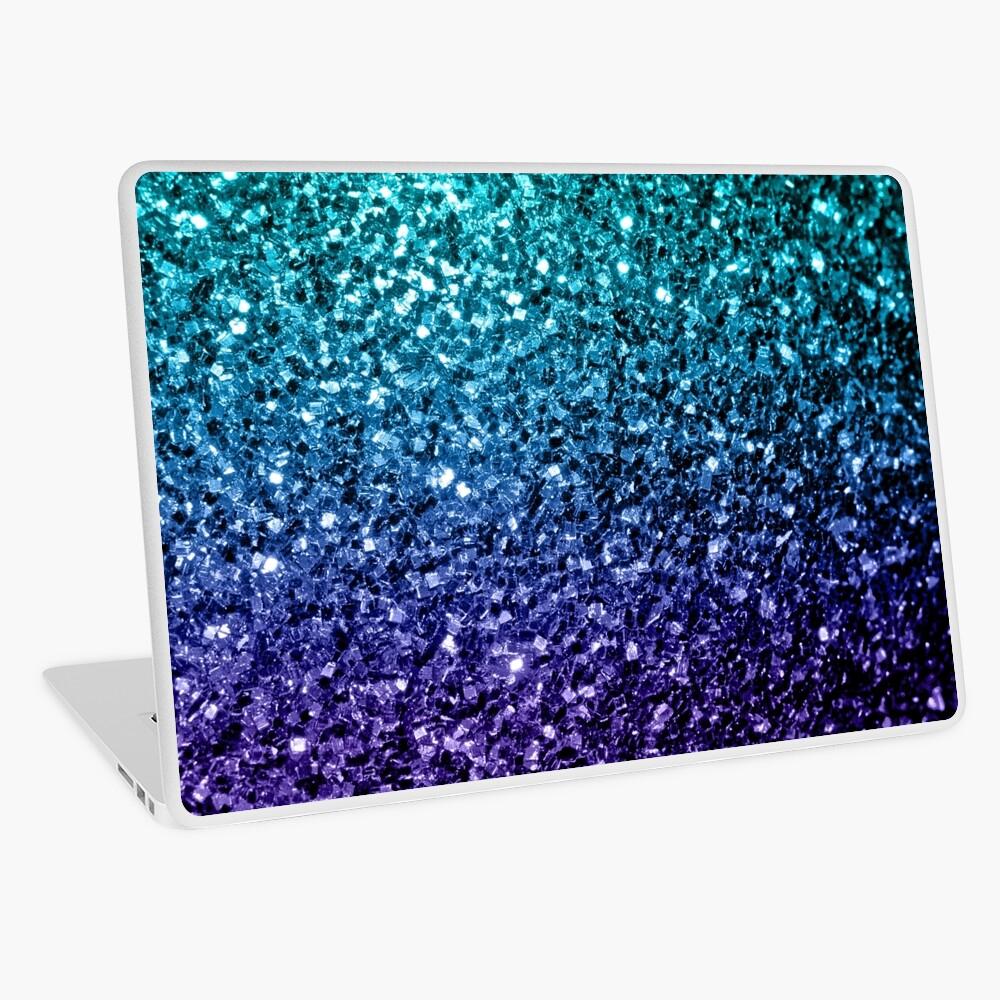 Wunderschönes Aqua Blue Ombre Glitter funkelt Laptop Folie