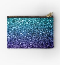 Beautiful Aqua blue Ombre glitter sparkles  Studio Pouch