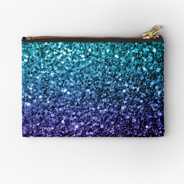 Beautiful Aqua blue Ombre glitter sparkles Zipper Pouch