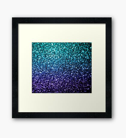 Beautiful Aqua blue Ombre glitter sparkles  Framed Print