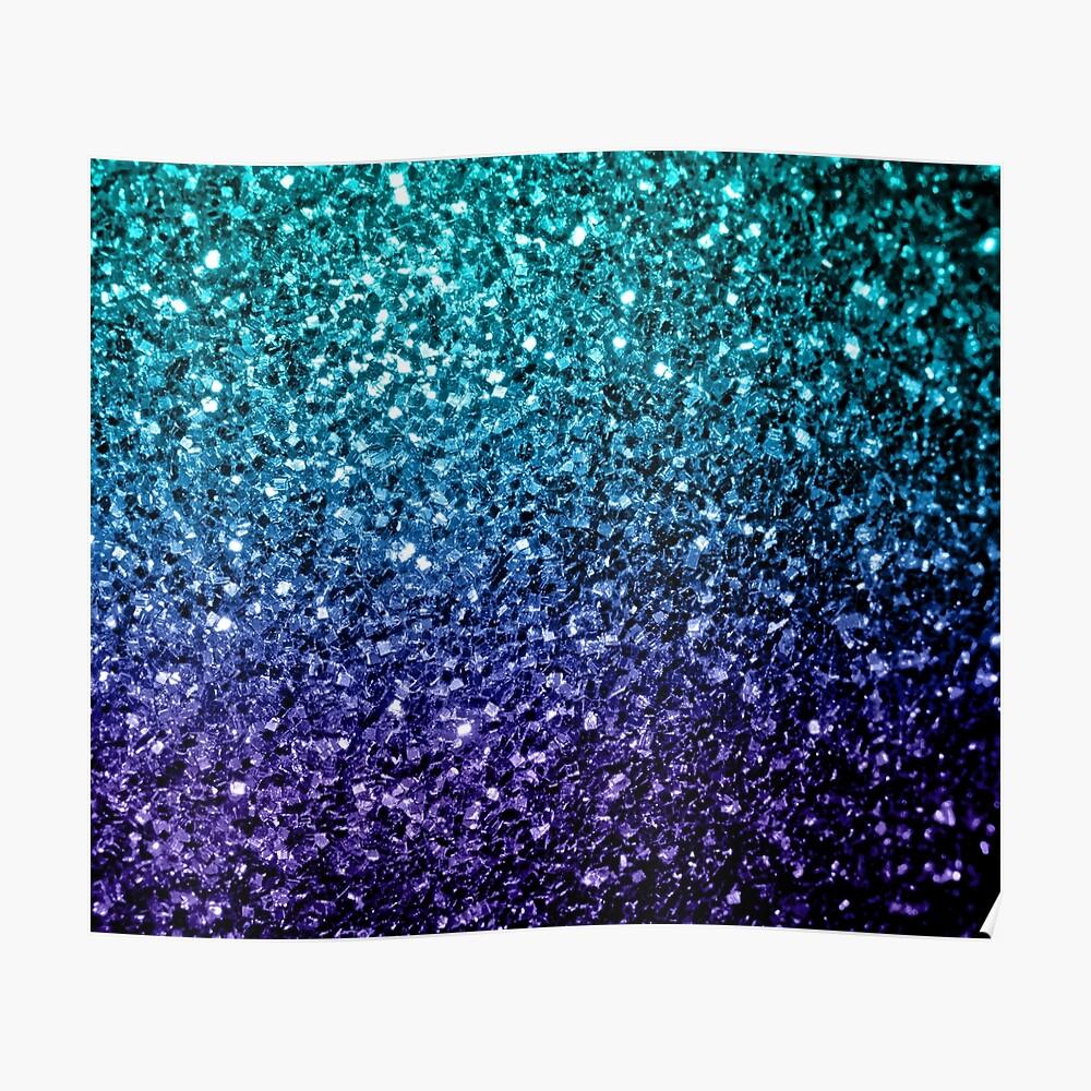 Wunderschönes Aqua Blue Ombre Glitter funkelt Poster