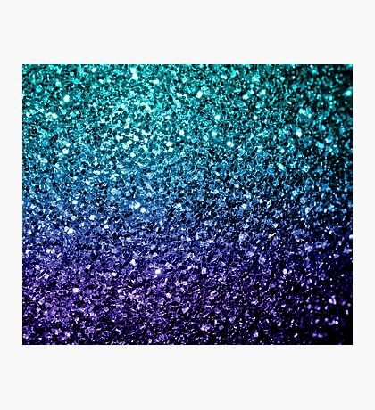 Beautiful Aqua blue Ombre glitter sparkles  Photographic Print