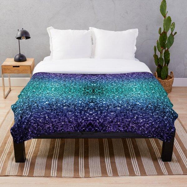 Beautiful Aqua blue Ombre glitter sparkles Throw Blanket