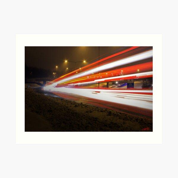 Highway Light Streaks Mayhem (E18) Art Print