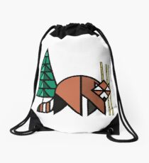 Red Panda Geometric  Drawstring Bag