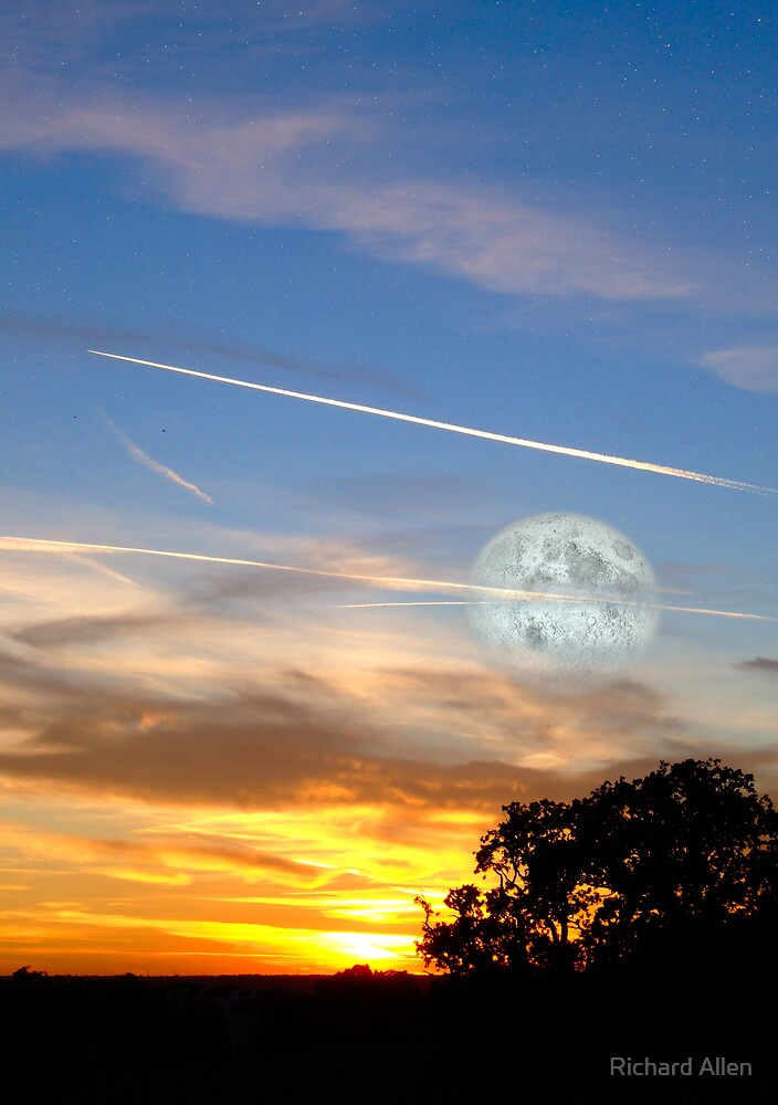 Sunset with Moon by Lea Valley Photographic