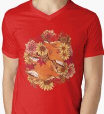 Camiseta para hombre de cuello en v Autumn Fox Bloom