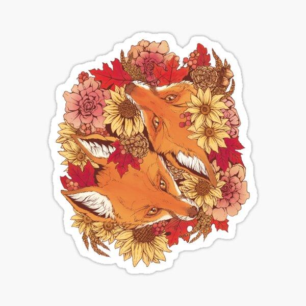 Autumn Fox Bloom Sticker