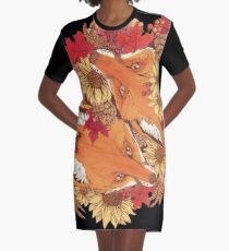 Autumn Fox Bloom Graphic T-Shirt Dress