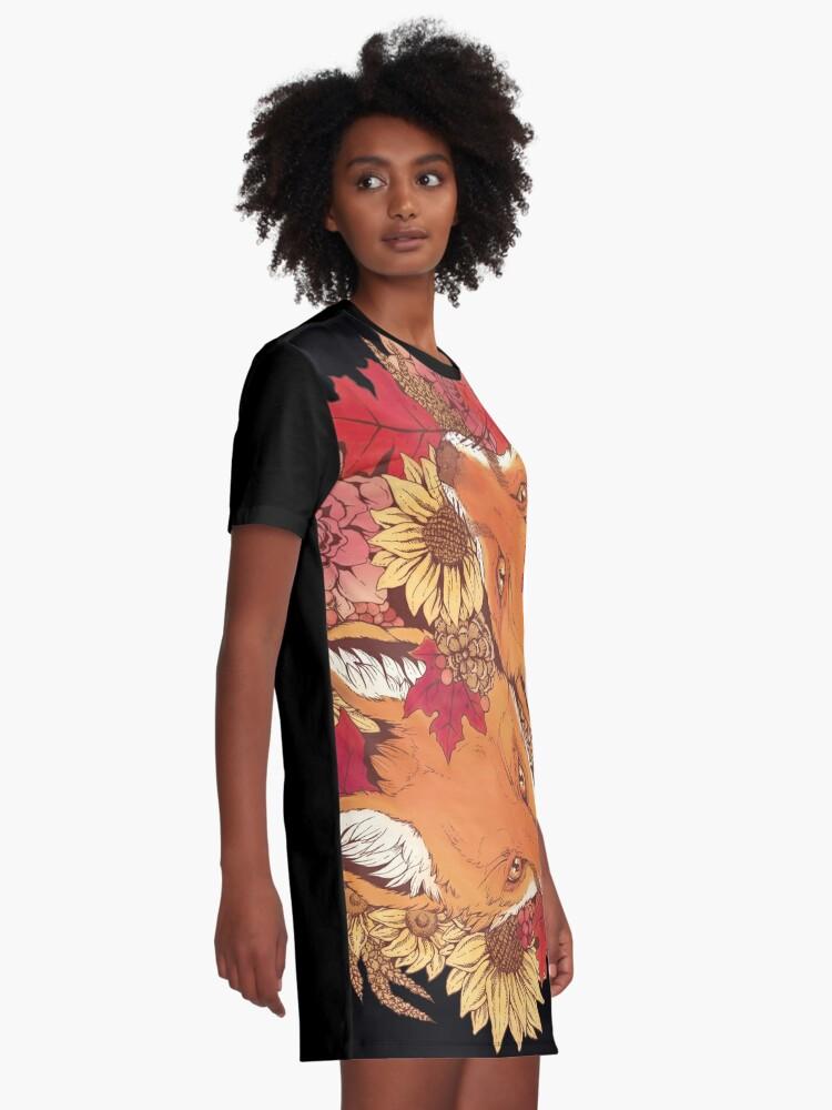 Alternate view of Autumn Fox Bloom Graphic T-Shirt Dress