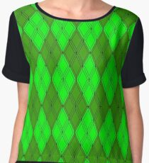 Green and Green Argyle Chiffon Top