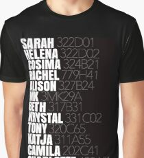 Orphan Black Clone Names With Tag Numbers Graphic T-Shirt