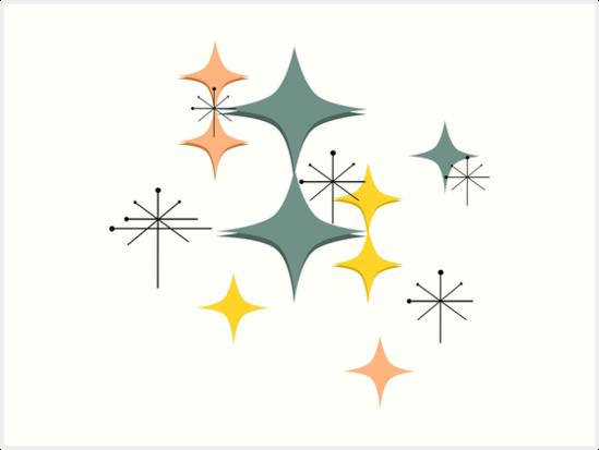 Mid Century Modern Pattern Eames Atomic Diamonds Starbursts By ItayaArt