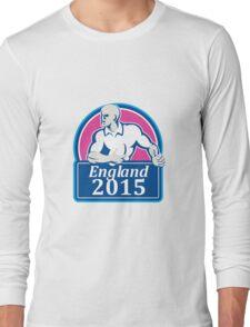 Rugby Player Running Ball England 2015 Retro Long Sleeve T-Shirt