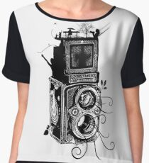 Retro Rolleiflex - Evolution of Photography - Vintage Women's Chiffon Top