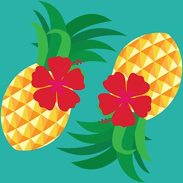 Tropical Pineapple and Hibiscus Summer by 0hmc