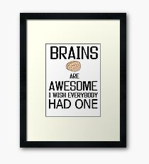 Funny Brains gift, skull mind wisdom costume tees shirts Framed Print