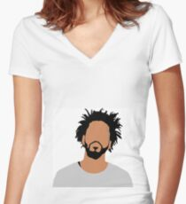 j cole  Women's Fitted V-Neck T-Shirt