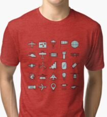 Aviations Icons Planes and Aircraft Tri-blend T-Shirt