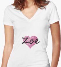 Zoe Ping glitter heart Women's Fitted V-Neck T-Shirt