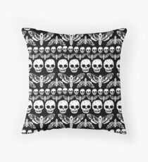 Death's head moth and Skulls pattern Throw Pillow