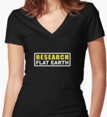 RESEARCH FLAT EARTH (1st Billboard graphics) Women's Fitted V-Neck T-Shirt