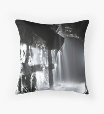 Water reclaims this old ore hopper in the depths of an abandoned  tungsten mine. Cumbria. Throw Pillow