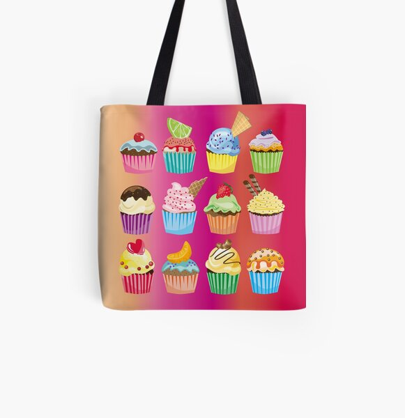 Cupcakes Galore Delicious Yummy Sugary Sweet Baked Treats All Over Print Tote Bag