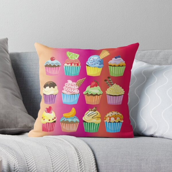 Cupcakes Galore Delicious Yummy Sugary Sweet Baked Treats Throw Pillow