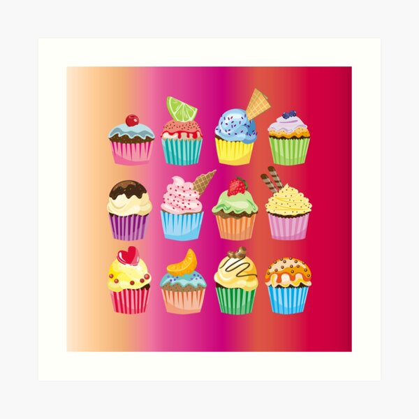Cupcakes Galore Delicious Yummy Sugary Sweet Baked Treats Art Print
