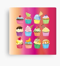 Cupcakes Galore Delicious Yummy Sugary Sweet Baked Treats Metal Print