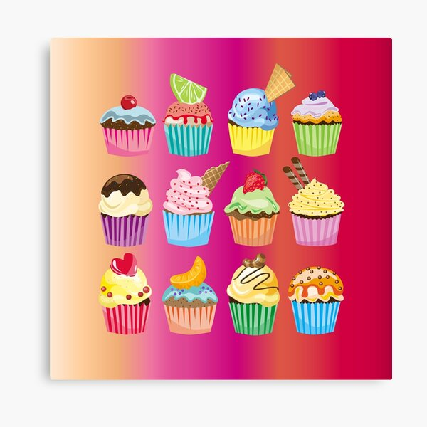 Cupcakes Galore Delicious Yummy Sugary Sweet Baked Treats Canvas Print