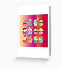Cupcakes Galore Delicious Yummy Sugary Sweet Baked Treats Greeting Card