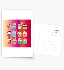 Cupcakes Galore Delicious Yummy Sugary Sweet Baked Treats Postcards