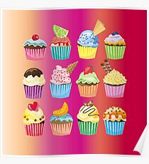 Cupcakes Galore Delicious Yummy Sugary Sweet Baked Treats Poster