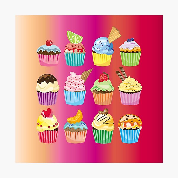 Cupcakes Galore Delicious Yummy Sugary Sweet Baked Treats Photographic Print