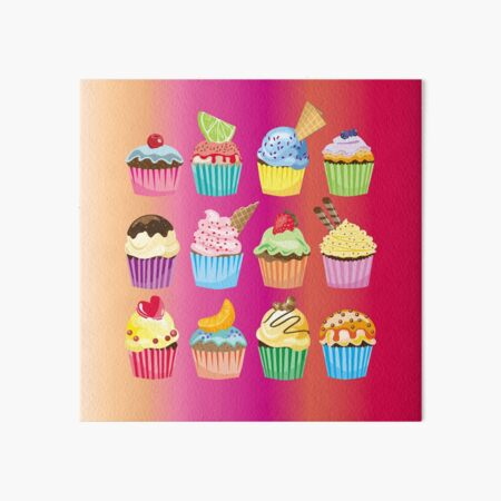Cupcakes Galore Delicious Yummy Sugary Sweet Baked Treats Art Board Print