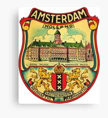 Amsterdam Vintage Travel Decal Canvas Print