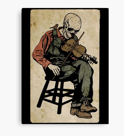 The Death Fiddler And His Sparrow Companion Canvas Print