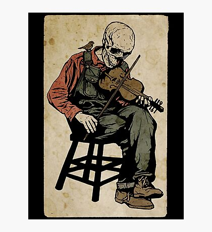 The Death Fiddler And His Sparrow Companion Photographic Print