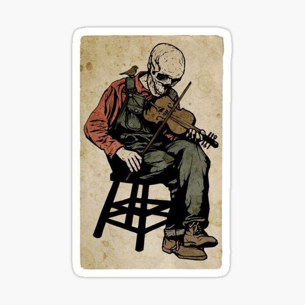 The Death Fiddler And His Sparrow Companion Sticker